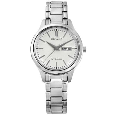 CITIZEN 機械錶 自動上鍊 日期 藍寶石水晶玻璃 不鏽鋼手錶-白色/29mm