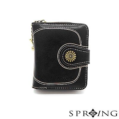 SPRING-日光系列-拉鍊式短夾-優雅黑