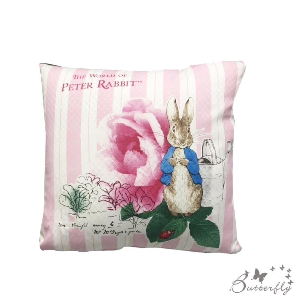 台製MIT-比得兔Peter Rabbit彼得兔經典系列抱枕-玫瑰-粉