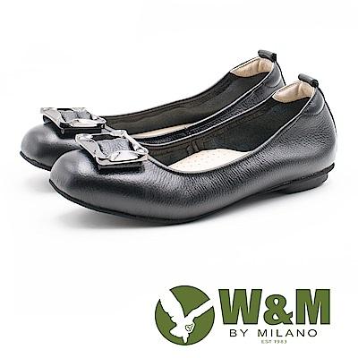 W&M 簡約方扣 淑女牛皮平底鞋 女鞋-黑(另有藍、米) @ Y!購物