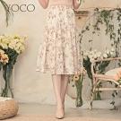 東京著衣-YOCO 質感印花腰鬆緊層次蛋糕裙-S.M.L
