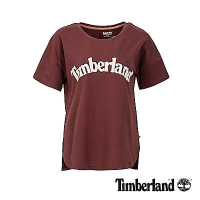 Timberland 女款深紫紅品牌LOGO素面休閒短袖T恤|B3513