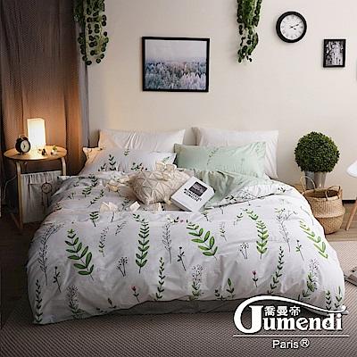 Jumendi喬曼帝 200織精梳純棉-加大被套床包組(慵懶小花園)