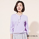 CHICA 學院回潮條紋織帶七分袖上衣(2色)