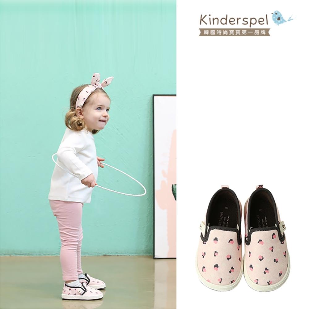Kinderspel 輕柔細緻.郊遊趣休閒學步鞋(粉紅豹紋)(15cm)