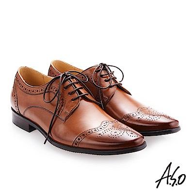 A.S.O 零壓挺力 綁帶蠟感牛皮雕花紳士鞋 茶