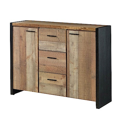 文創集 威爾工業風4尺木紋二門三抽餐櫃/收納櫃-120x40x95cm免組