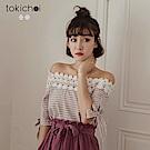 東京著衣 文藝女孩蕾絲拼接格紋平口上衣-S.M(共二色)