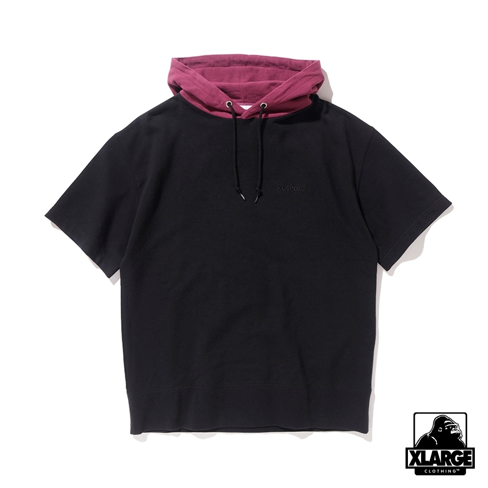 XLARGE S/S HOODED SWEAT短袖帽T-黑