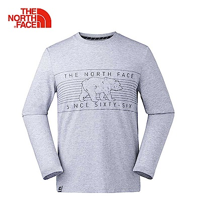 The North Face北面男款淺灰色印花舒適透氣長袖T恤 3L79DYX