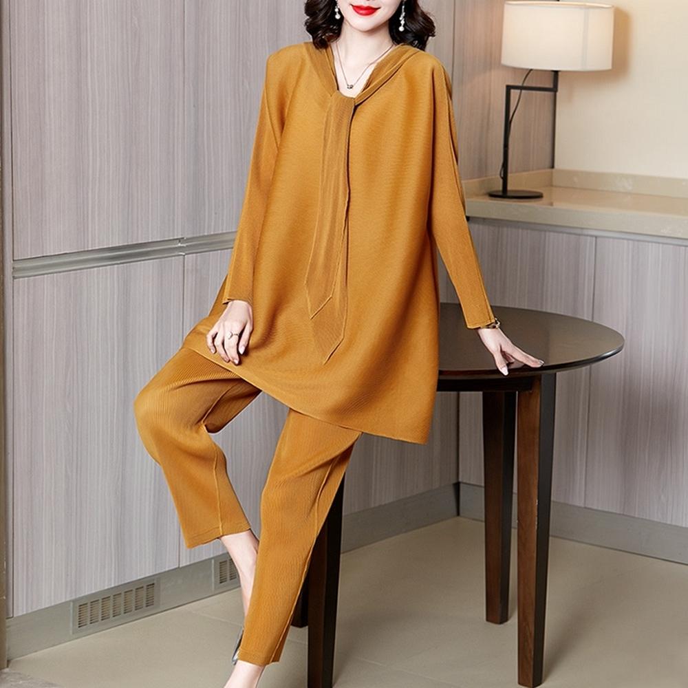 純色長衣領連帽寬鬆壓摺褲套裝-F(共三色)-糖潮