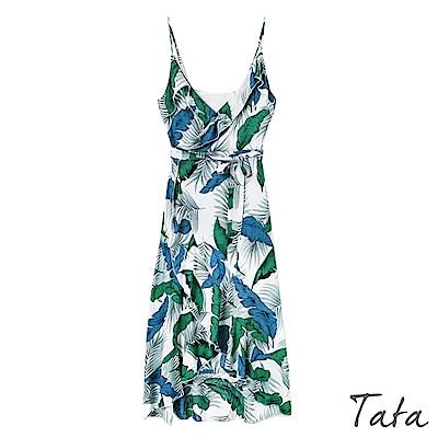 繫帶印花吊帶洋裝  TATA