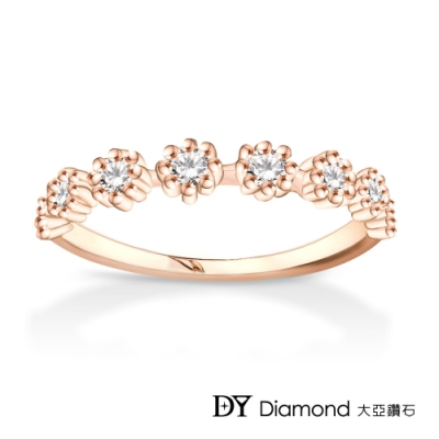 DY Diamond 大亞鑽石 L.Y.A輕珠寶 18K玫瑰金 綻放 鑽石線戒