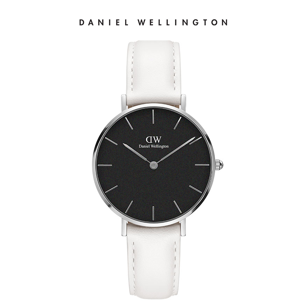 DW 手錶 官方旗艦店 28mm銀框 Classic Petite 純真白真皮皮革錶