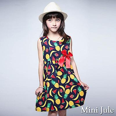 Mini Jule 洋裝 盛夏水果印花蝴蝶結無袖洋裝(藍)