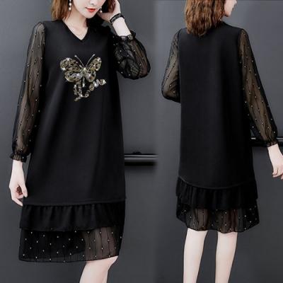 【KEITH-WILL】(預購)品味復古時尚蝴蝶美女輕柔洋裝(共1色)