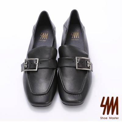 SM-方頭扣環羊皮低跟樂福鞋