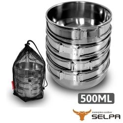 【韓國SELPA】304不鏽鋼四件式碗 500ml 摺疊把手