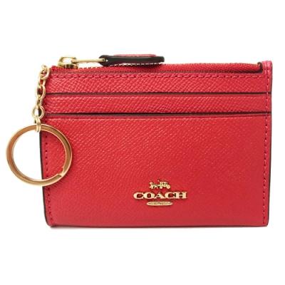 COACH 新款悠遊卡鑰匙零錢包(全皮-玫瑰粉)