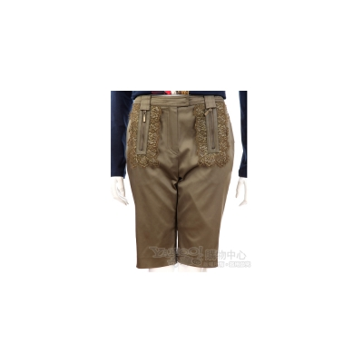Lie Sang Bong 墨綠色蕾絲拼接設計五分褲