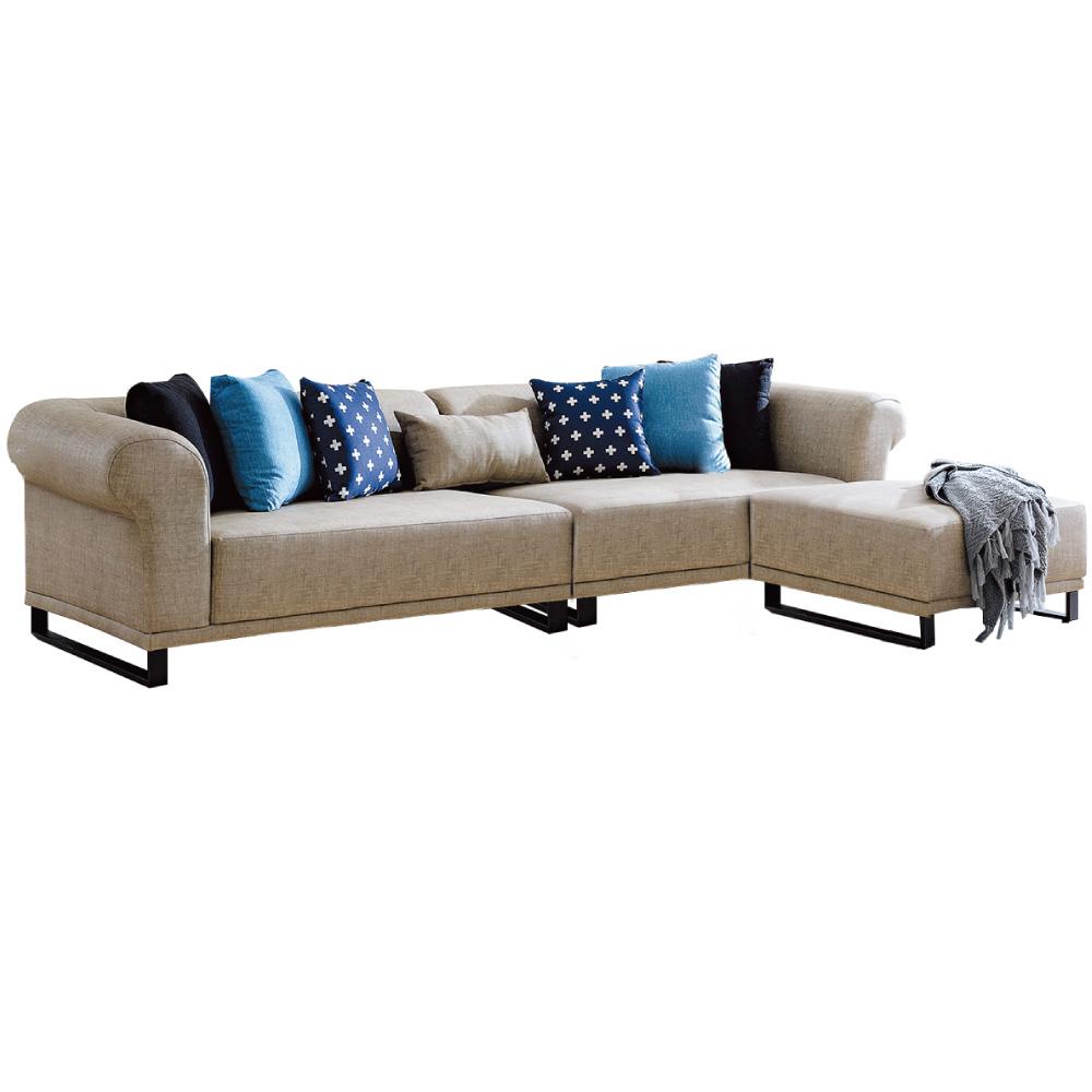 文創集 馬德貓抓皮革L型獨立筒沙發組合(四人座+椅凳)-300x182x66cm免組