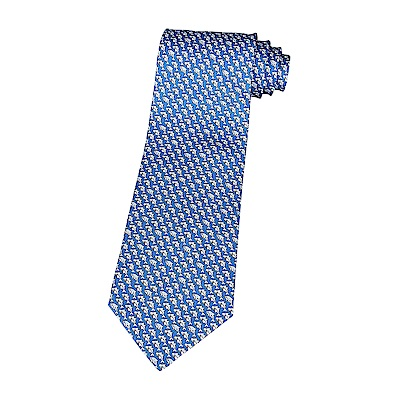 HERMES愛馬仕經典緹花LOGO海豚鯊魚設計蠶絲領帶(藍)