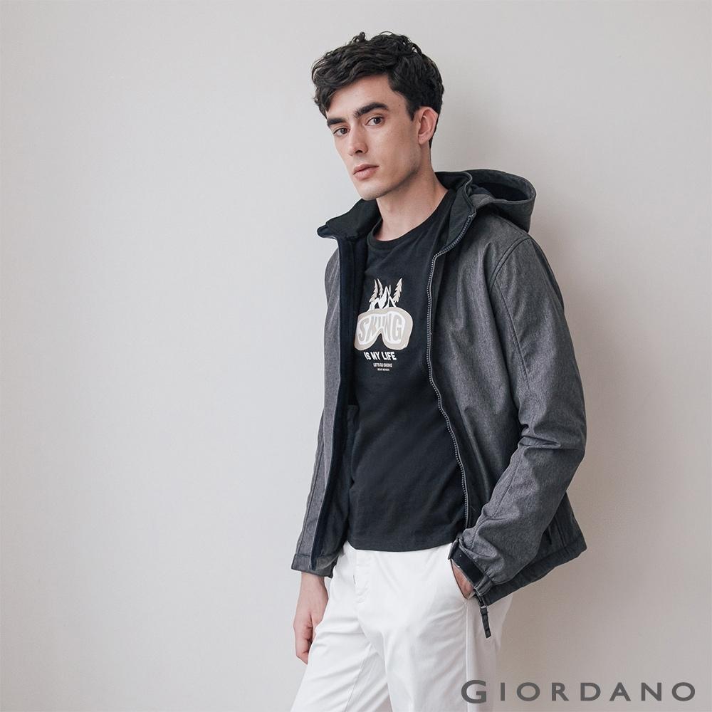GIORDANO 男裝Softshell三合一高機能高領可拆式連帽外套-94深花灰
