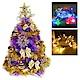 2尺(60cm)特級紫色松針葉聖誕樹(金色系)+LED50燈彩色插電式透明線 product thumbnail 1
