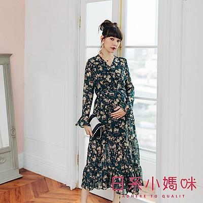 日系小媽咪孕婦裝-孕婦裝 微秋感花朵交叉領縮腰洋裝