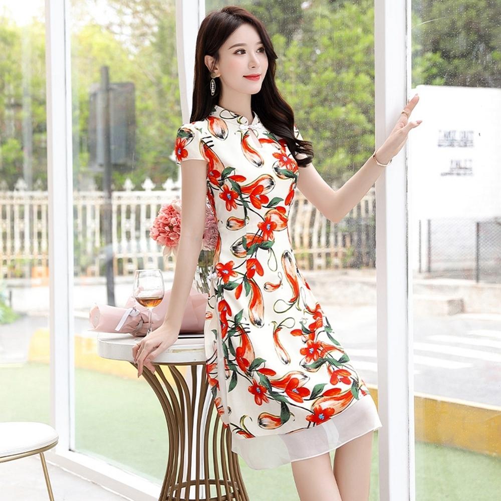 復古小立領紅印花改良式旗袍洋裝M-3XL(共二色)-SZ