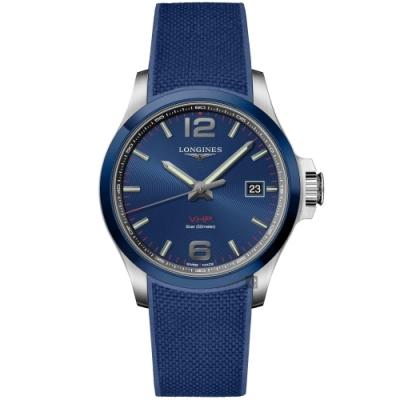 LONGINES浪琴 征服者系列V.H.P.萬年曆陶瓷圈手錶-藍 L37294969