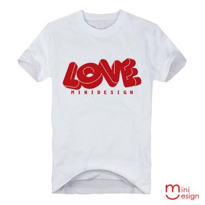 (男款)立體字母LOVE潮流潮流設計短T 三色-Minidesign