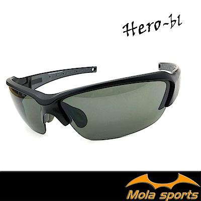 MOLA摩拉運動太陽眼鏡 UV400 男女 黑 鼻墊可調整 自行車 跑步 高爾夫 棒球