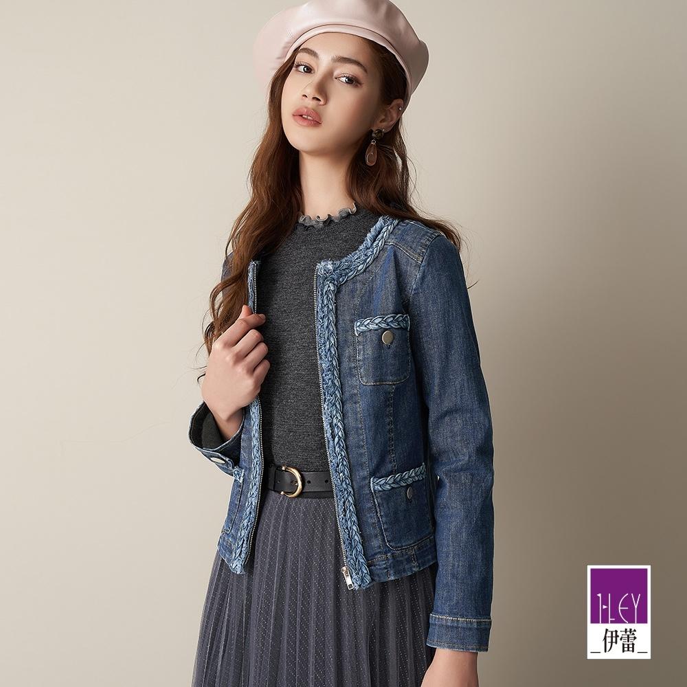 ILEY伊蕾 編織感拼接短版牛仔外套(藍)