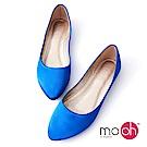 mo.oh 尖頭緞面套腳平底娃娃鞋-寶藍色
