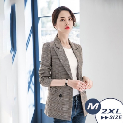 【LANNI 藍尼】英倫風格紋修身西裝外套-格紋(M-2XL)●