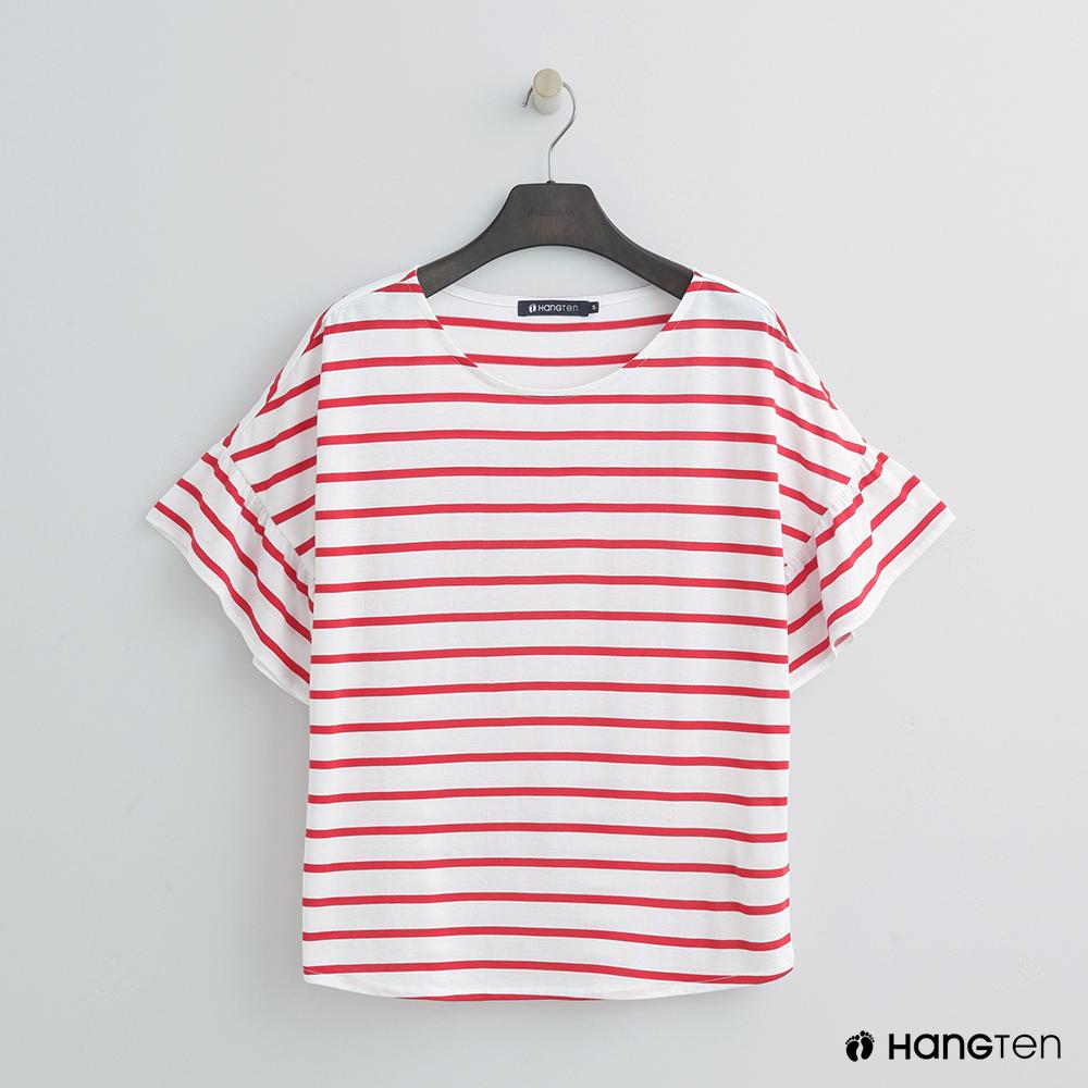 Hang Ten - 女裝 - 氣質荷葉袖簡約上衣 - 紅白條
