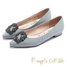 Pineapple Outfittert 璀璨名媛方鑽飾釦尖頭低跟鞋-灰色