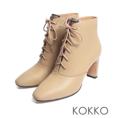 KOKKO -海邊曼徹斯特綁帶方頭扁跟靴 - 焦糖棕