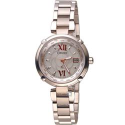 CITIZEN星辰xC系列愛戀玫瑰光動能電波鈦金屬腕錶(EC1048-54W)