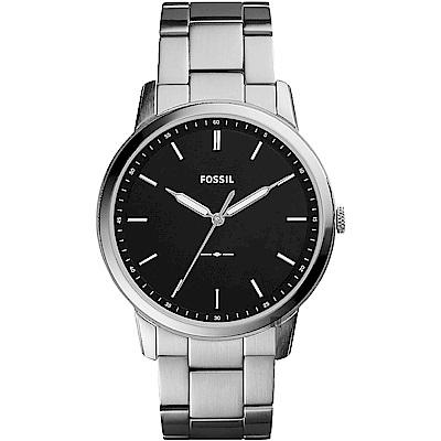 FOSSIL Minimalist 薄型簡約手錶-黑x銀/44mm FS5307