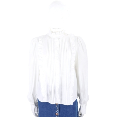 SEE BY CHLOE 荷葉立領法式感米白色壓摺襯衫