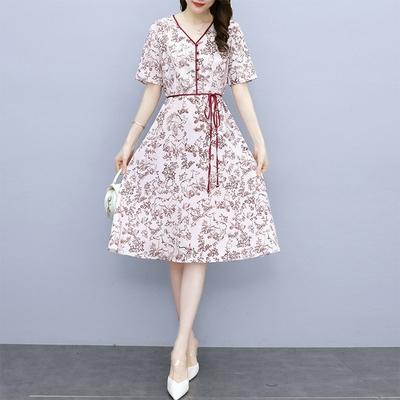 【KISSDIAMOND】女神氣質雪紡洋裝(1色M-3XL/KDD-8812)