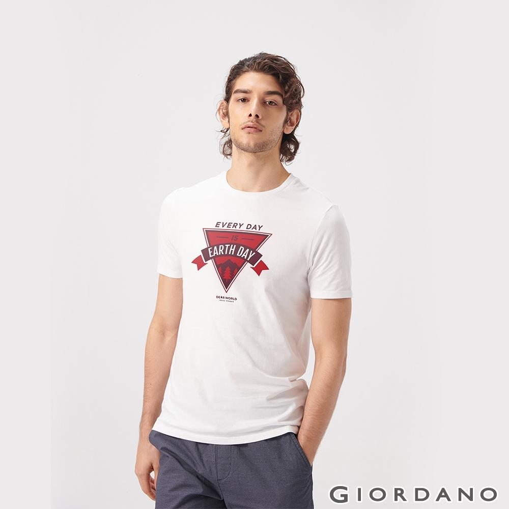 GIORDANO 男裝DEAR WORLD系列印花T恤-21 標誌白