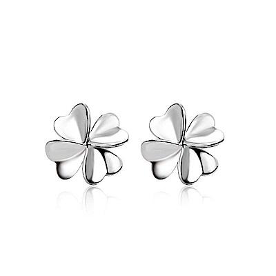米蘭精品 925純銀耳環-幸運四葉草耳環