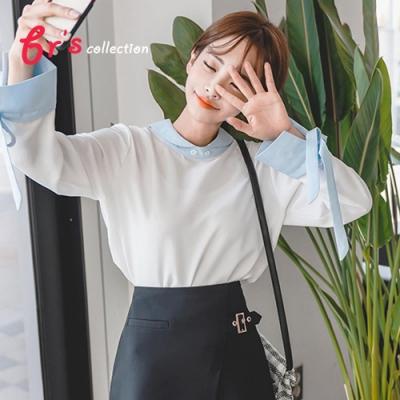 【brs】韓系蝴蝶袖斜紋拼接式假兩件襯衫上衣