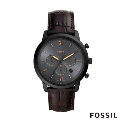 FOSSIL NEUTRA CHRONO 真皮三眼計時男錶-深棕色 44MM FS5579