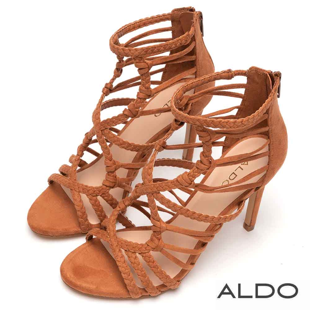 ALDO 原色幾何麻花編織鏤空繫帶高跟涼鞋~個性焦糖