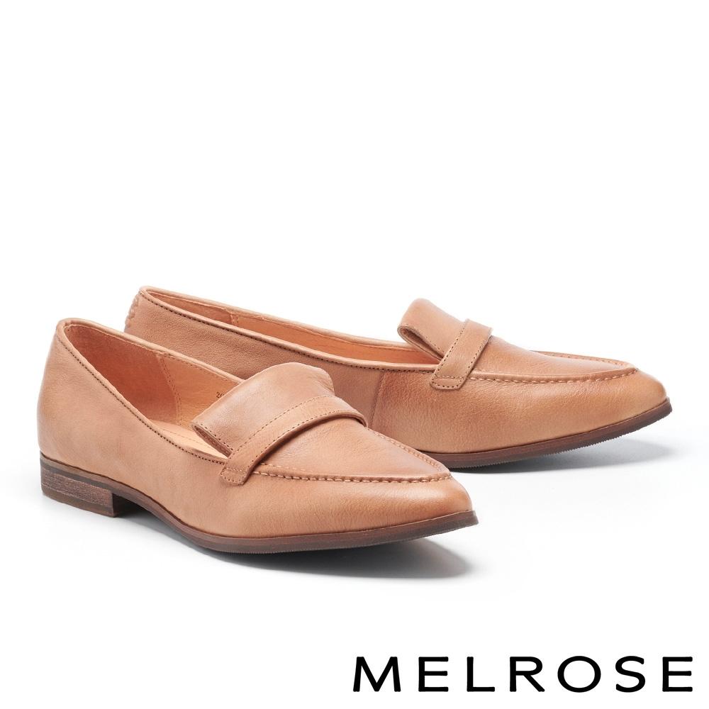 低跟鞋 MELROSE 復刻時尚全真皮樂福低跟鞋-咖