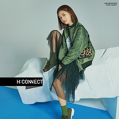 H:CONNECT 韓國品牌 女裝-特色印字兩穿飛行外套-綠